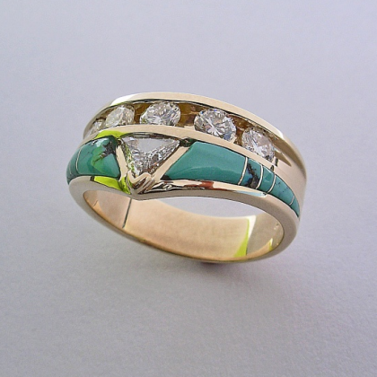 Gold Engagement Ring With Diamond And Turquoise