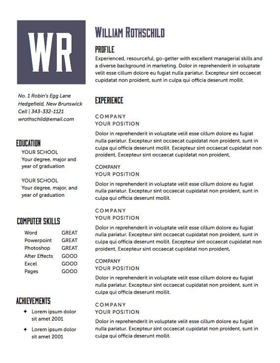 Resume Template The Rothschild Resume Design By Itsprintable