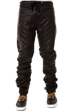 The Quilted Vegan Leather Jogger Pants in Black by KITE use rep ... : mens quilted pants - Adamdwight.com