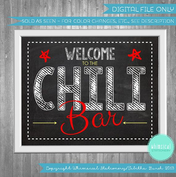Items similar to Chili Bar Sign Fiesta (Printable File Only) Food Table Signs Beans Football Party Chalkboard Red Yellow Green White Chalk Signage Fun on Etsy