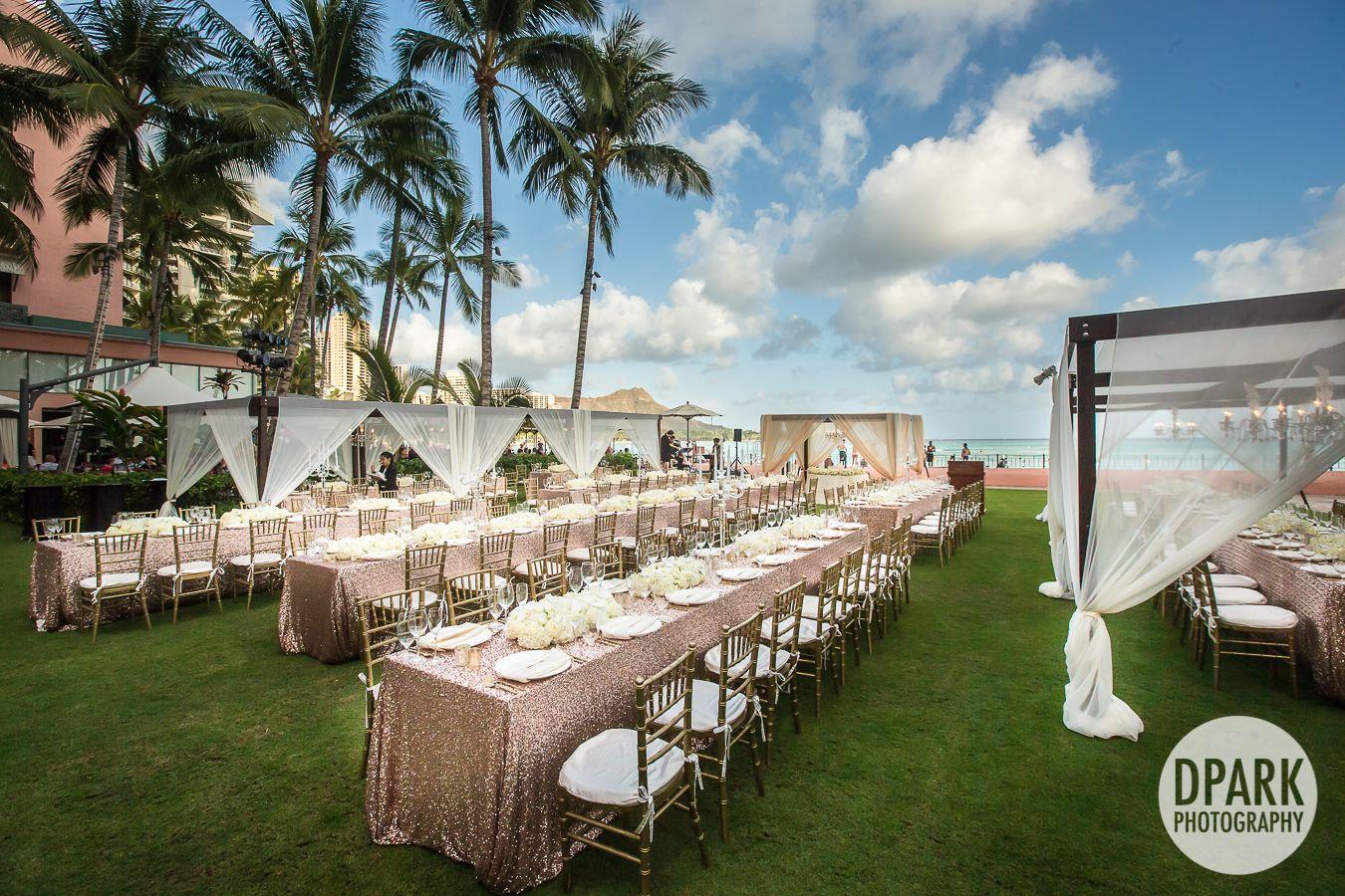 Modern Hawaiian Glam Blush Champagne Rose Gold Black Ivory Wedding