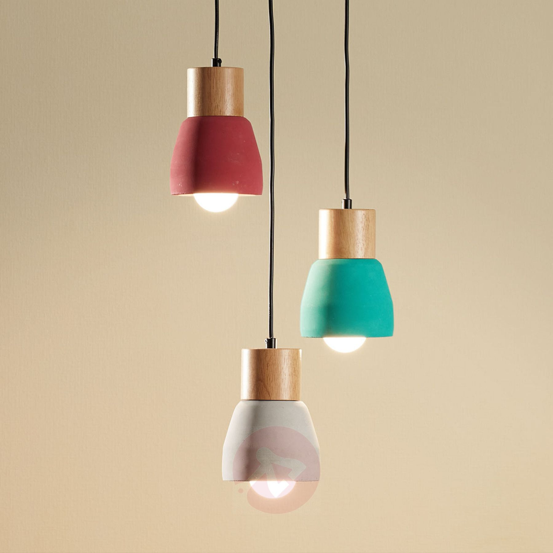 Concrete Pendant Light Margot With Wood 3 Bulb In 2020 Bulb Light Colored Wood Pendant Lamp