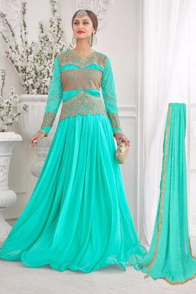 Wear Sea Green Color Designer Gown
