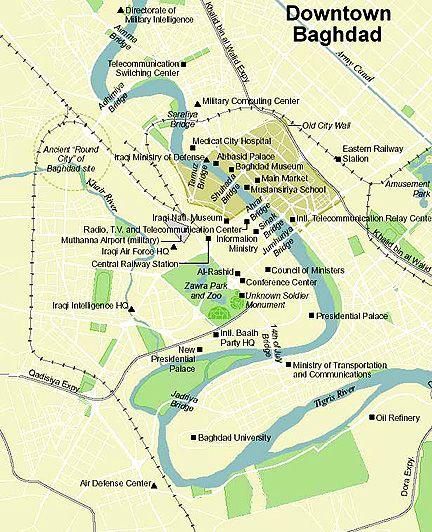 General map of Baghdad. | Remembering Baghdad | Baghdad, Middle East ...
