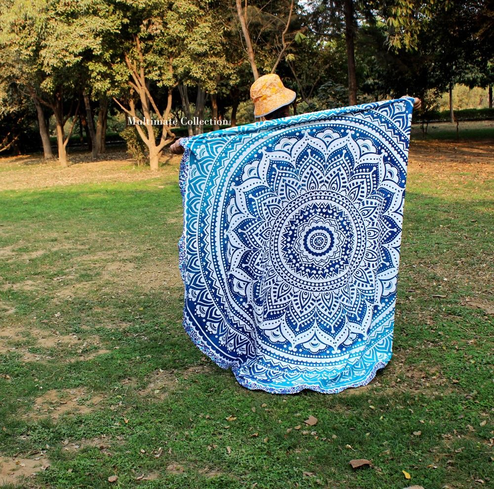 Blue Rangoli Ombre Large Roundie - Classic