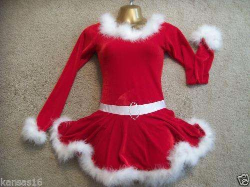 Christmas Ice Skating Costumes.Christmas Ms Santa Claus Ice Figure Skating Dress Red Velvet