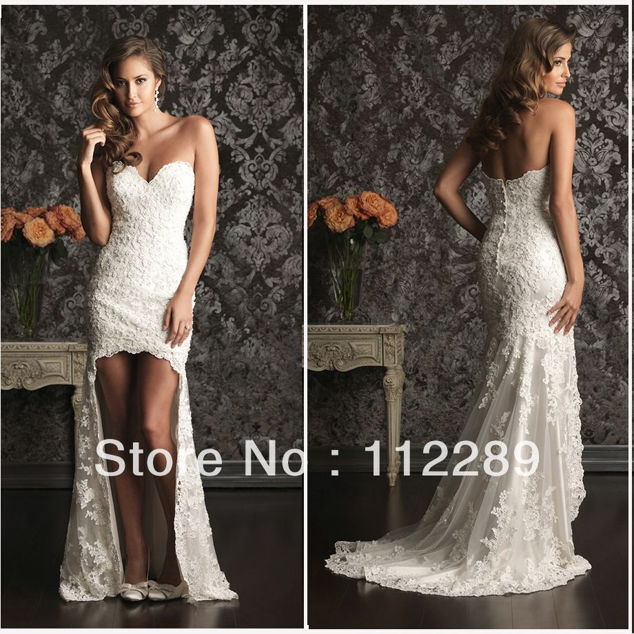 2017 High Quality White Sweetheart Front Open Leg Lace Wedding Gown With Train Hz3357 Us 220 00