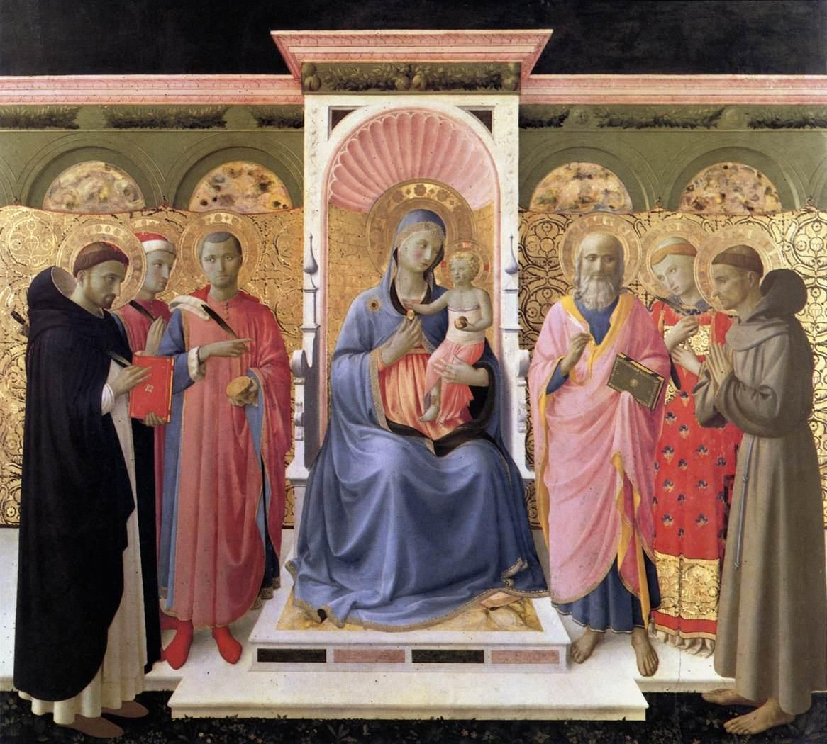 Annalena Altarpiece. Angelico. 1435. Tempera and gold on panel. 180 x 202 cm. Museo di San Marco. Florence.