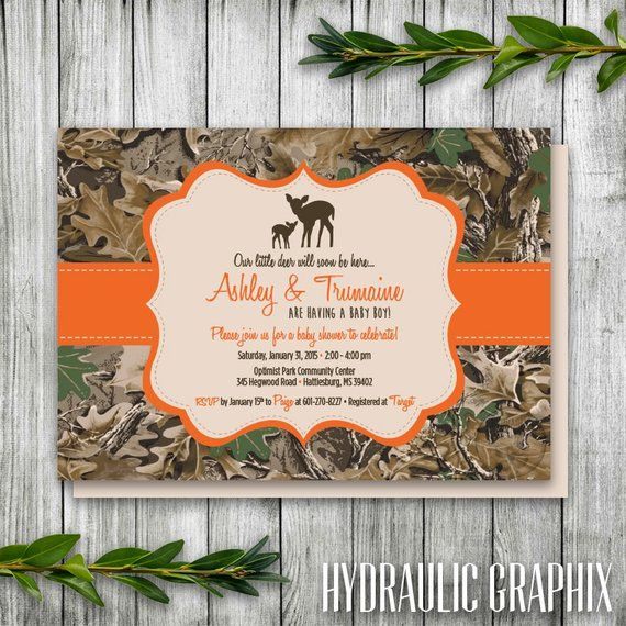 Camouflage Baby Shower Invitation Printable Camo Wedding Theme Birthday Deer Cou