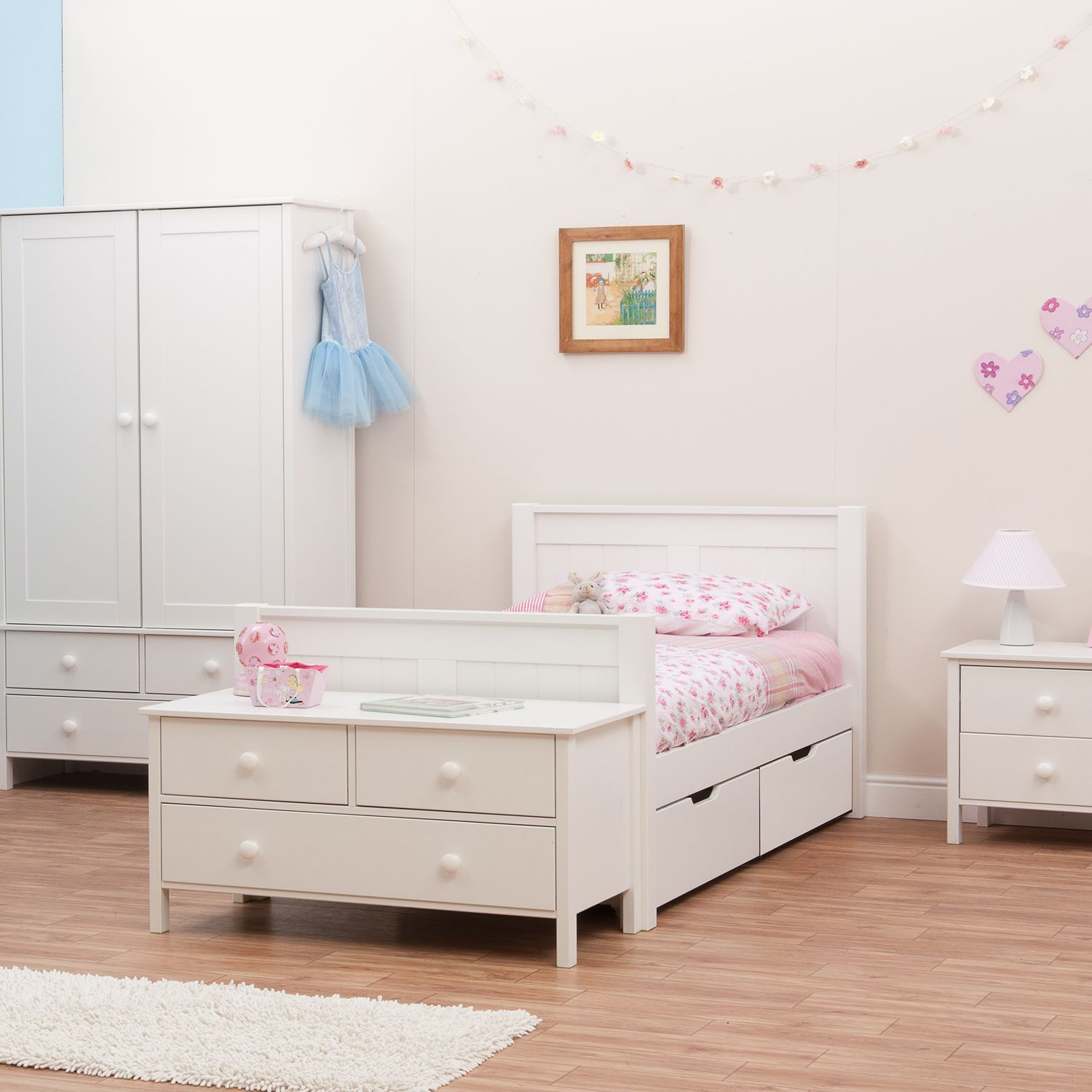 Classic Single Bed With Trundle Bed By Stompa: Stompa Classic Kids 3ft Single Wooden Bed