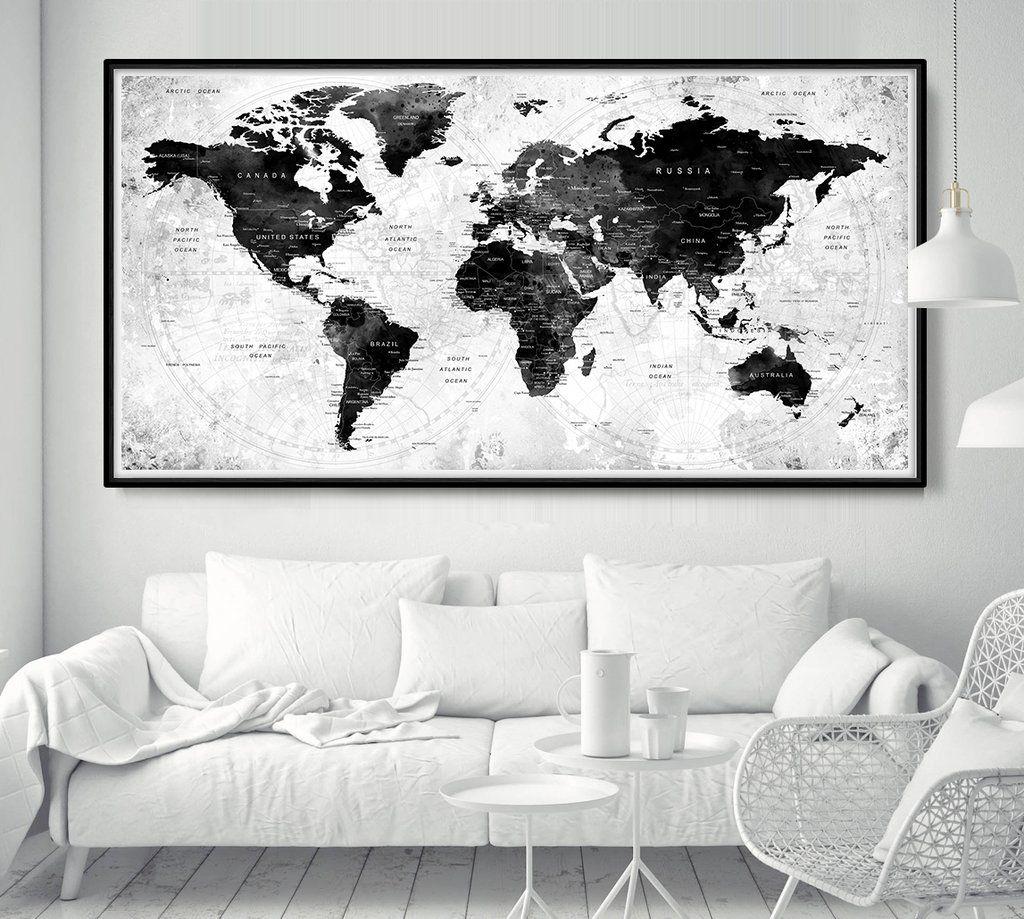 World Map Poster Push Pin Travel Map Black And White World Map