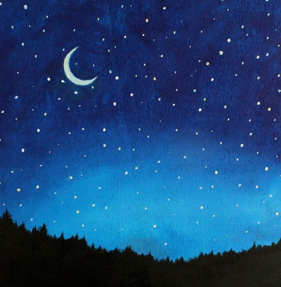Night Sky Stars And Moon Painting