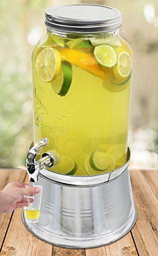 Estilo Glass Mason Jar Beverage Drink Dispenser With Ice Bucket Stand And Leak Free Spigot 1 5 Gallon Drink Dispenser Glass Mason Jars Mason Jars