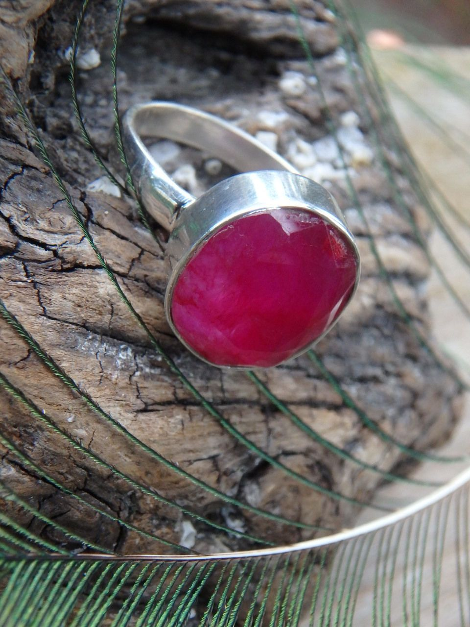 ~~INCREDIBLE FACETED RUBY RING IN STERLING SILVER (SIZE 9.5)~~  NEW In The SHOP HERE: