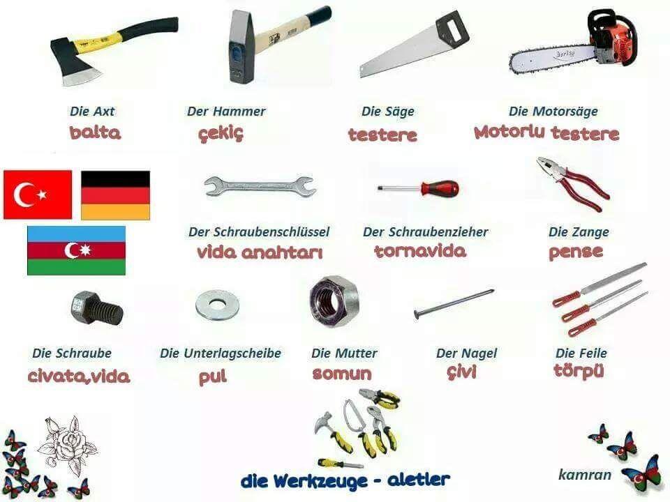 werkzeug   Turkish vocabulary   Pinterest   Werkzeuge, Deutsch ...