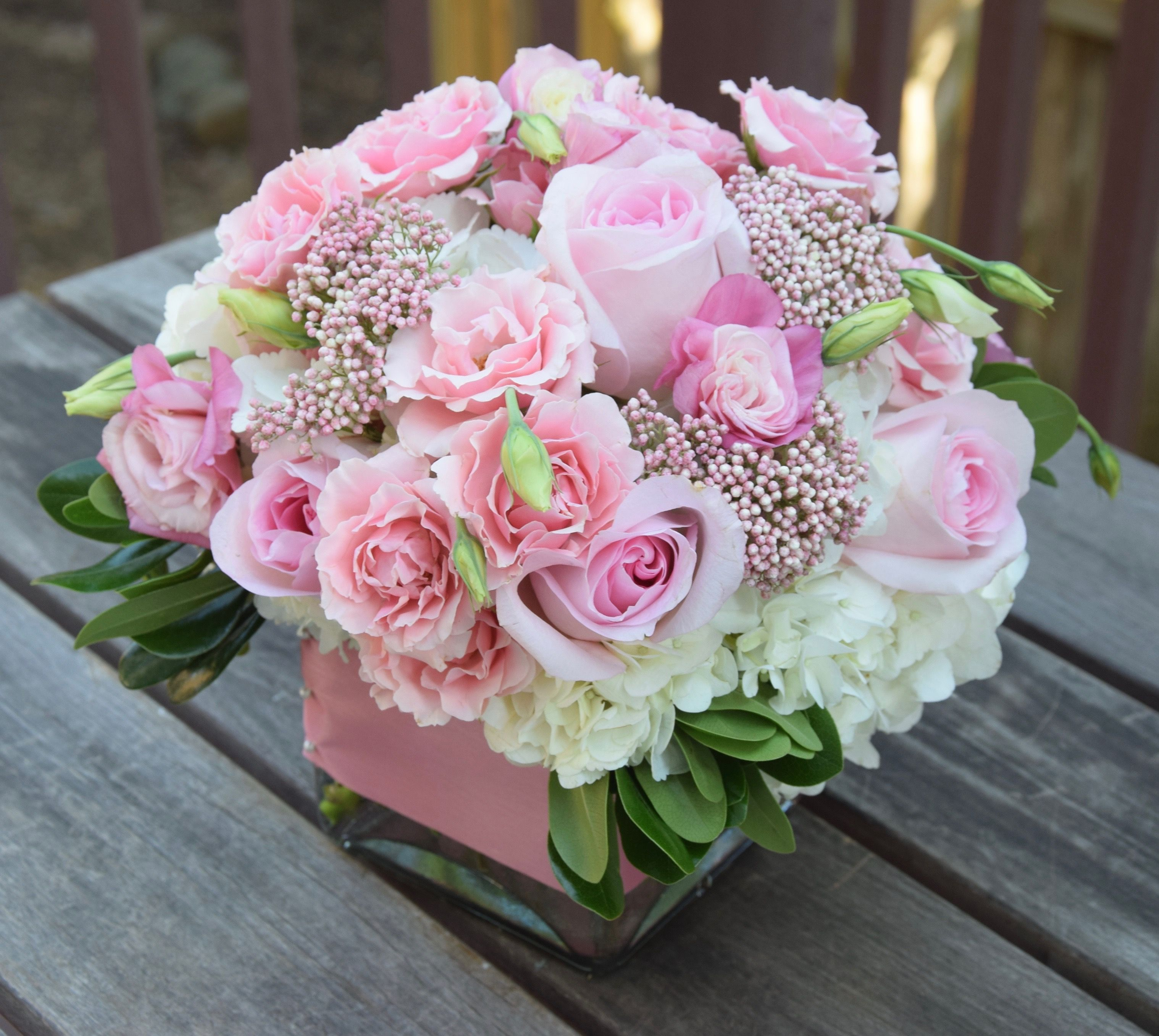 Sweet Pink Flower Arrangement With Spray Rose Roses Hydrangeas Lisianthus And Rice Flower Pink Flower Arrangements Flower Arrangements Pink Flowers
