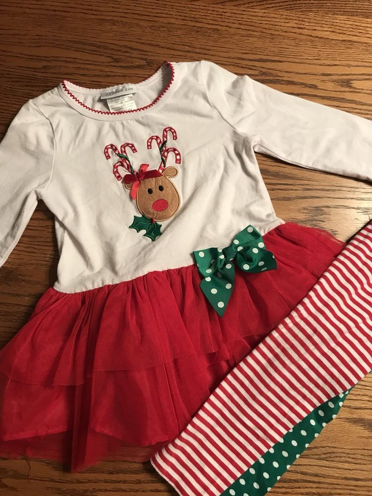 4ddd195c2ae Bonnie Jean Girls Size 4T Rudolph Holiday Dress Christmas Outfit ...