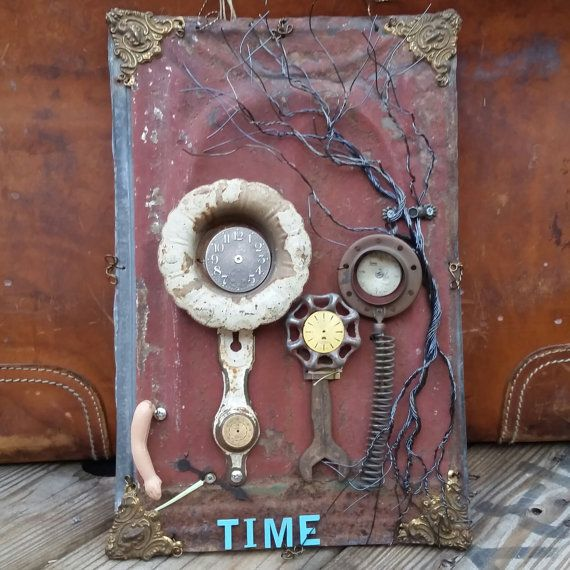 Best Assemblage Art Take Time To Smell The Roses Whimsical Wall Art Metal Roof Tiles Art 400 x 300