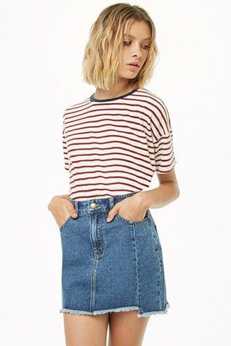 9768fe8667 Step Hem Denim Mini Skirt   Products in 2019   Denim mini skirt ...