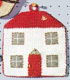 Home, Sweet Home Potholder | No. S-720 | Crochet Patterns ❁•Teresa Restegui http://www.pinterest.com/teretegui/•❁