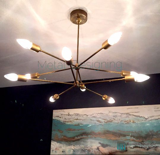 SPUTNIK STARBURST LIGHT FIXTURE CHANDELIER LAMP MATT BRASS DIY MED CENTURY 2 ARM  | eBay