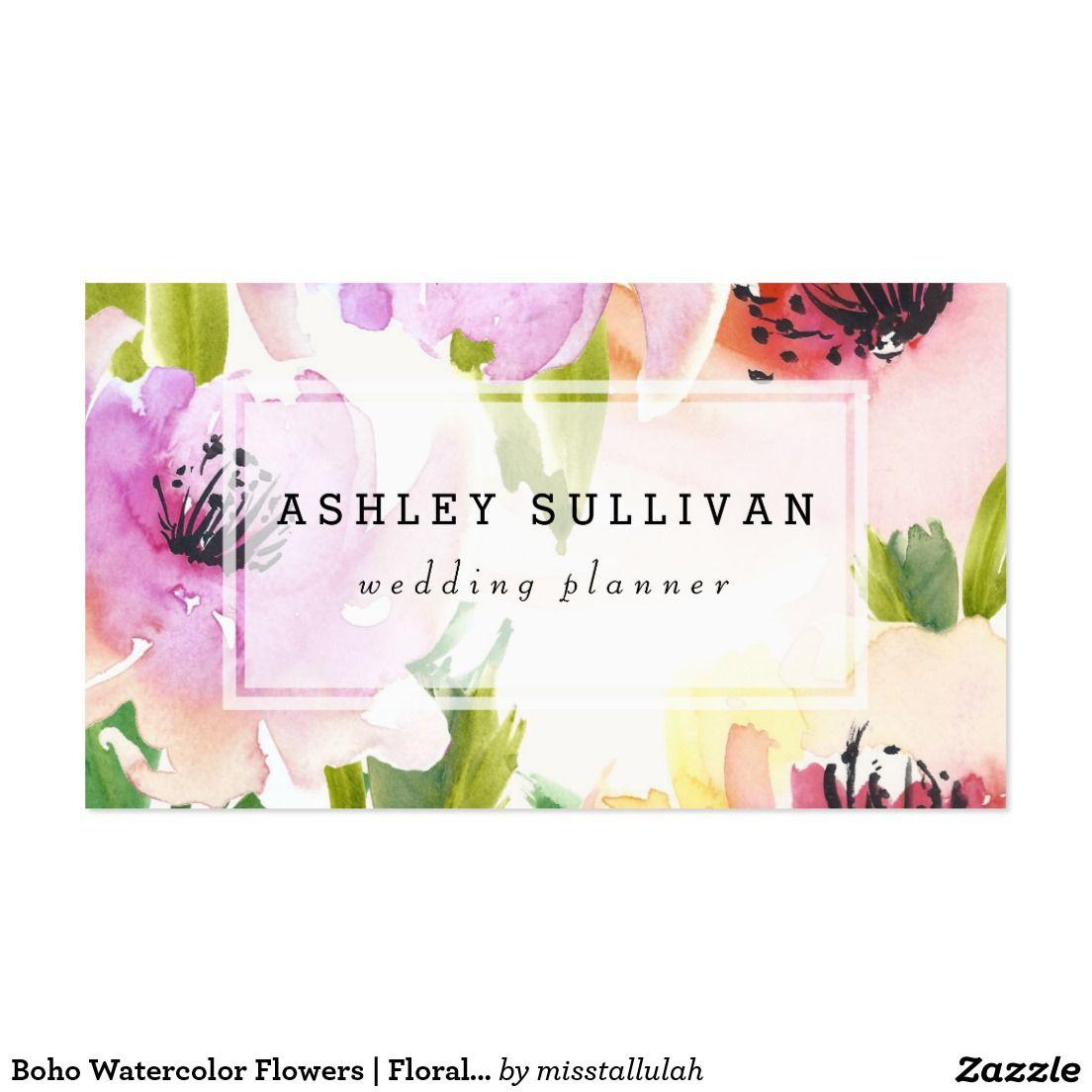 Boho Watercolor Flowers | Floral Business Card | Flowershop ...