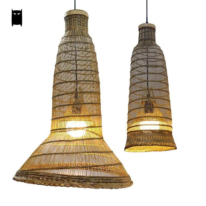 Bamboo Wicker Rattan Pendant Light Fixture Asian Rustic Hanging Ceiling Lamp Avize Luminaria Home Di Pendant Light Fixtures Pendant Light Hanging Ceiling Lamps
