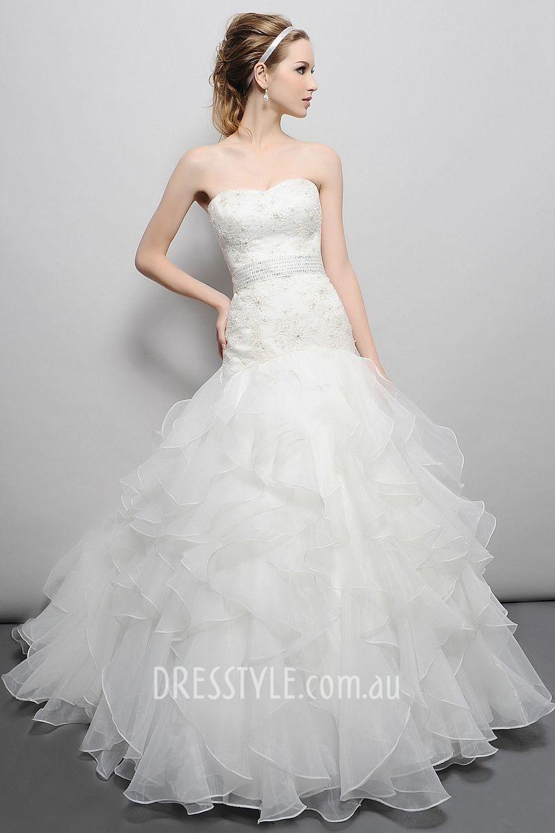 Strapless ball gown wedding dresses  ball gown strapless ruffle skirt embroidered bodice drop waist