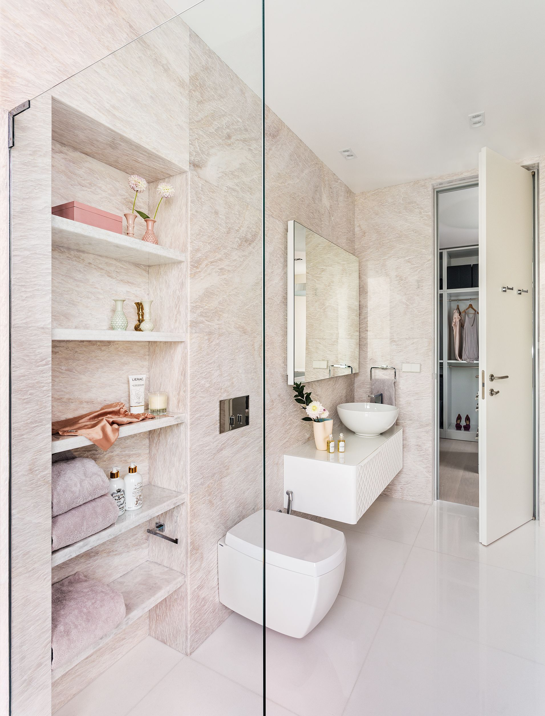 Female Master Ensuite Clad In Polished Rosa Egeo, A White