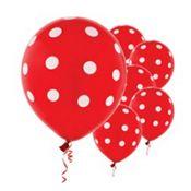 Latex Red Polka Dots Printed Balloons 12in 6ct
