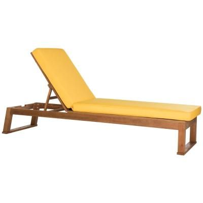 Safavieh Solano Natural Brown Adjustable Wood Outdoor ... on Safavieh Outdoor Living Solano Sunlounger id=40517