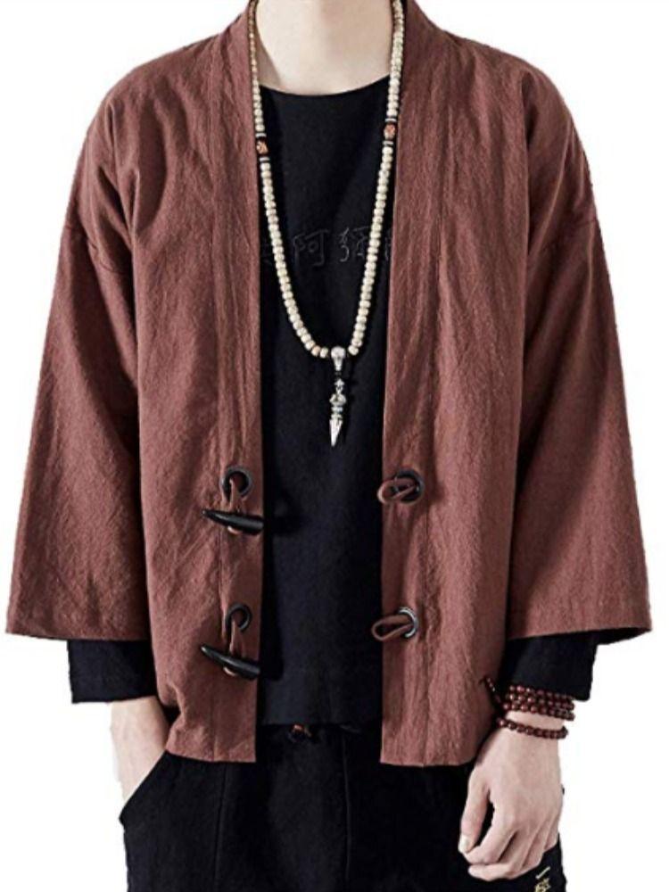Men/'s Casual Style Chinois Veste en lin Tops Cardigan Kimono HANFU NEW L