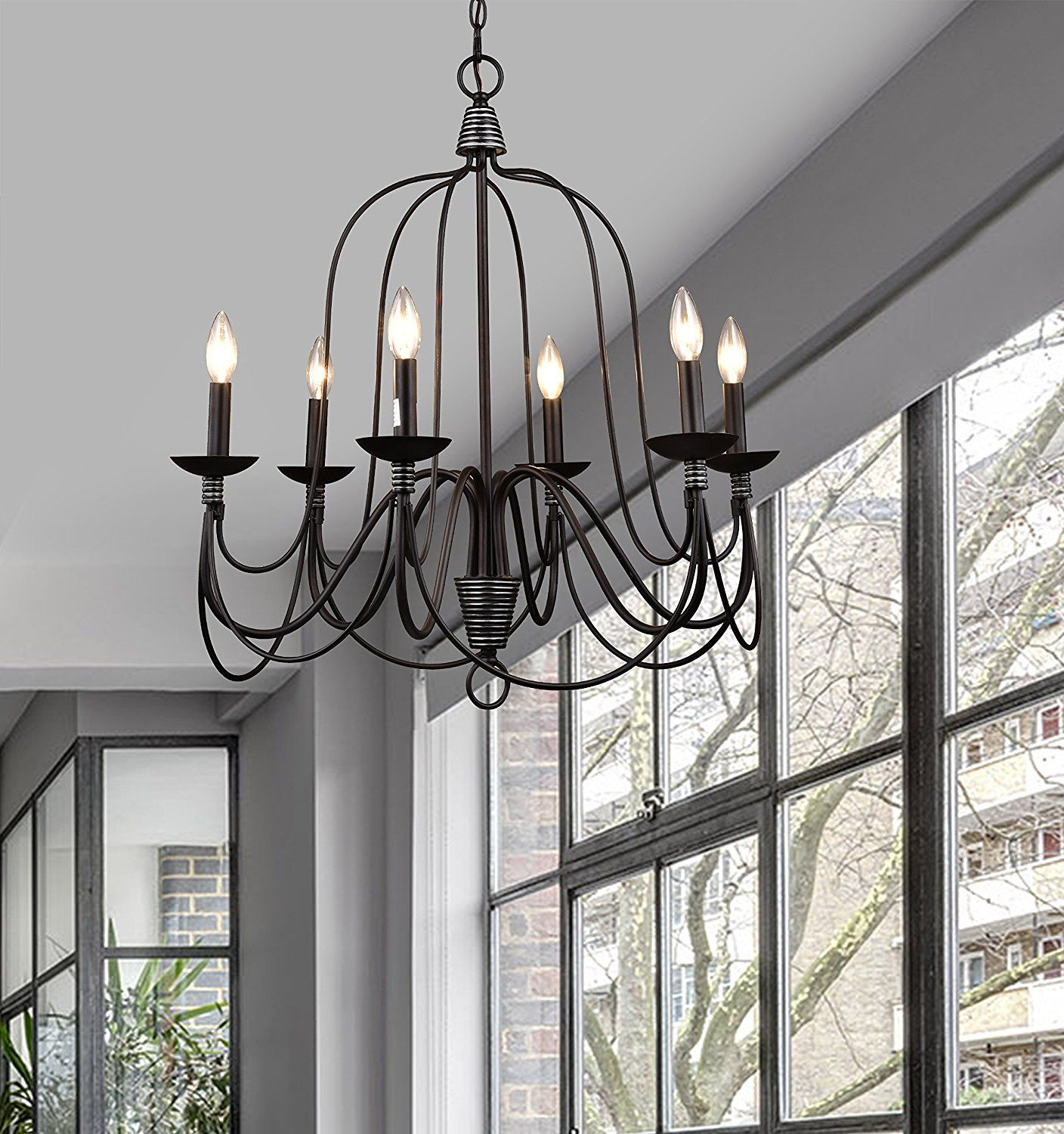 CLAXY Ecopower Lighting Industrial Vintage 6 Lights Candle Chandeliers
