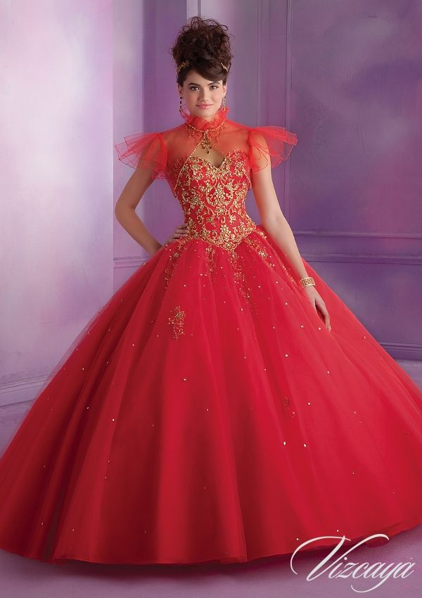 Quinceanera Dress 89015 Embroidered Tulle Quinceanera Gown with Beading
