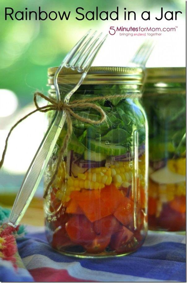Rainbow Salad in Jar | Mason Jar Craft & Recipe Ideas for St. Patrick's Day @ Mason Jar Crafts Love