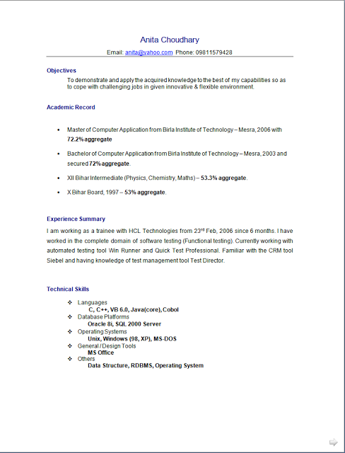 Curriculum Vitae English Free Download Sample Template Excellent