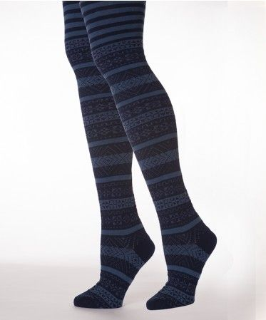 Women's Navy Fair Isle Tights
