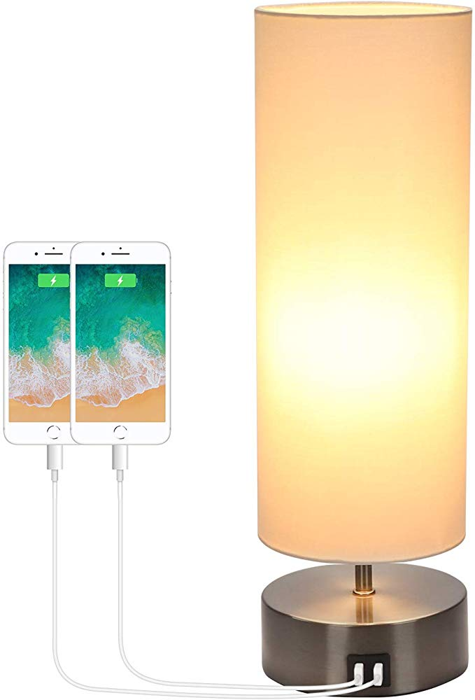 Usb Bedside Touch Control Table Lamp 3 Way Dimmable 3 Color Modes Desk Lamp With 2 Usb Charging Ports Boncoo Modern Nightstand Lamp In 2020 Led Bulb Table Lamp Lamp