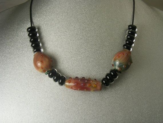 Boro Lampwork Glass Necklace RBN01 by danielsbeads on Etsy
