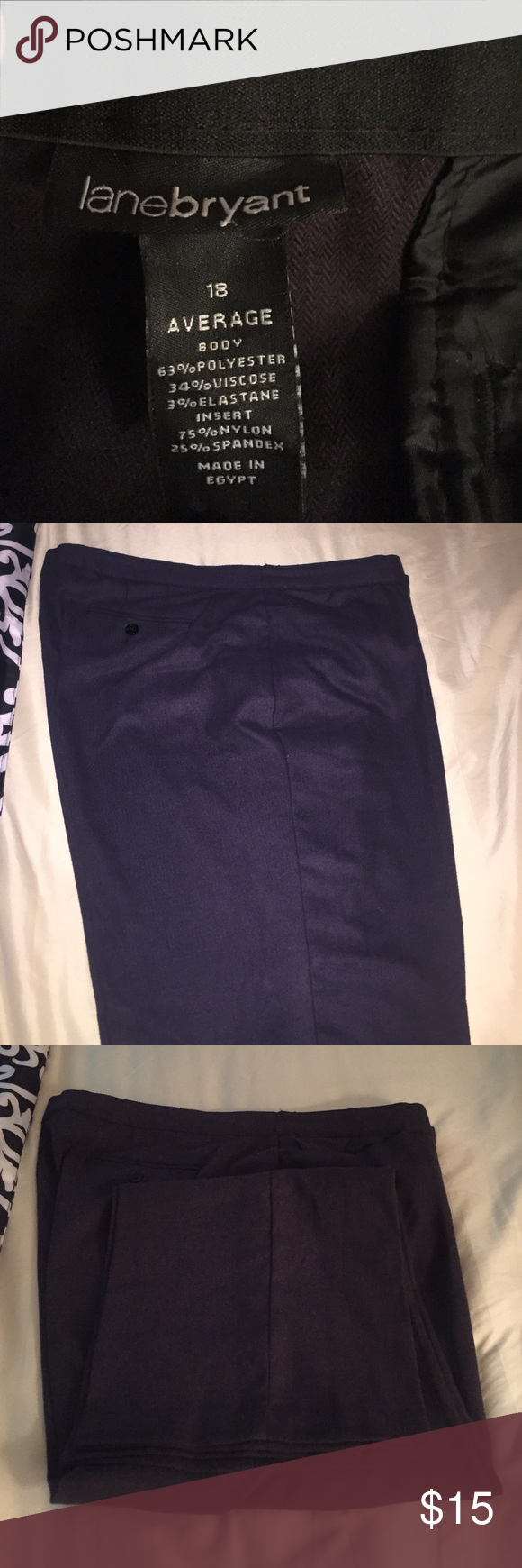 Eggplant purple dress slacks My weight loss journey is your wardrobe gain. Thick fabric, excellent condition, dress slacks, machine washable, I dry cleaned. Front and back pockets. Lane Bryant Pants Trousers
