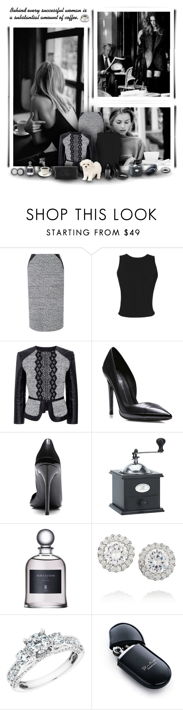 """""""Black and White Cafe"""" by rachelegance ❤ liked on Polyvore featuring Oscar de la Renta, Martin Grant, Anthony Vaccarello, Peugeot, Chanel, Kenneth Jay Lane, Reeds Jewelers and Elsa Peretti"""