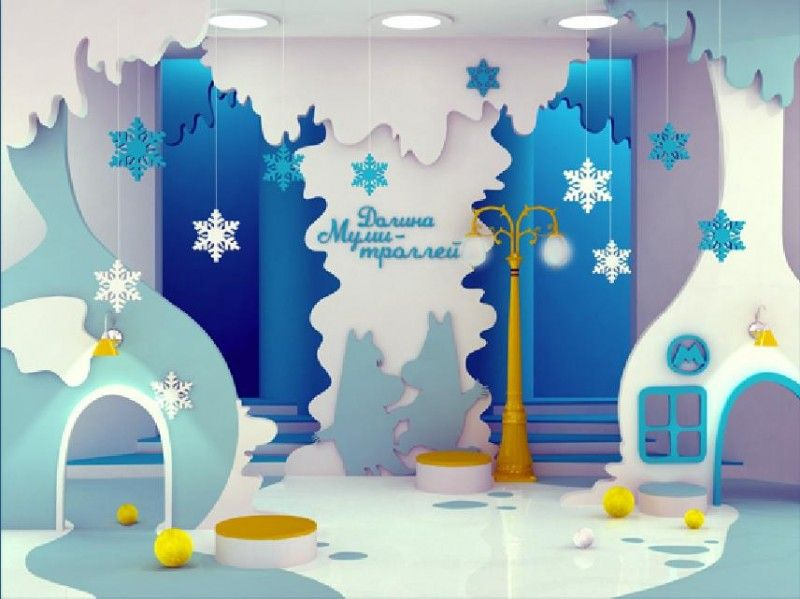blue snow artistic winter theme kids room design interior decor