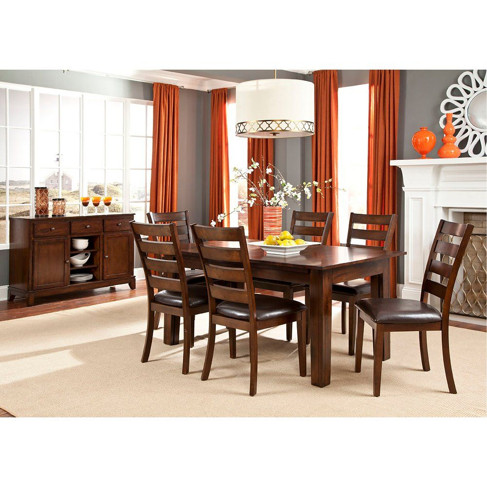 Brown 5 Piece Dining Set With Ladderback Chairs Kona
