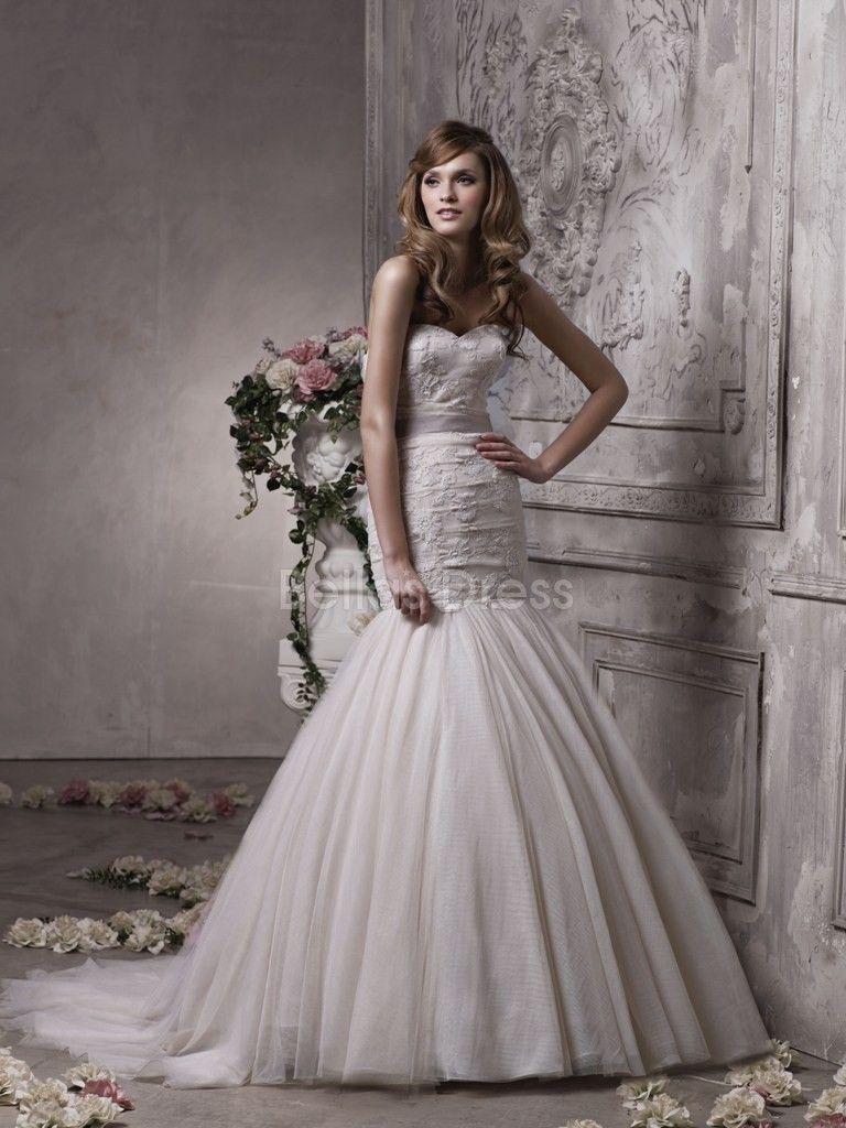 Lace mermaid wedding dress with train  Elegant Lace u Tulle Mermaid Sweetheart Chapel Train Winter Wedding