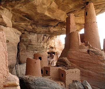 Ancient Tellem cliff dwellings in Dogon Country, Mali.