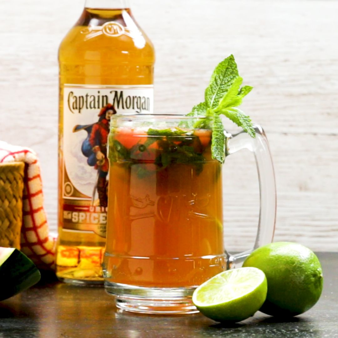Captain Morgan Mojito With Watermelon And Coconut Ice Cold Drinks Recipes Spiced Rum Watermelon Drink