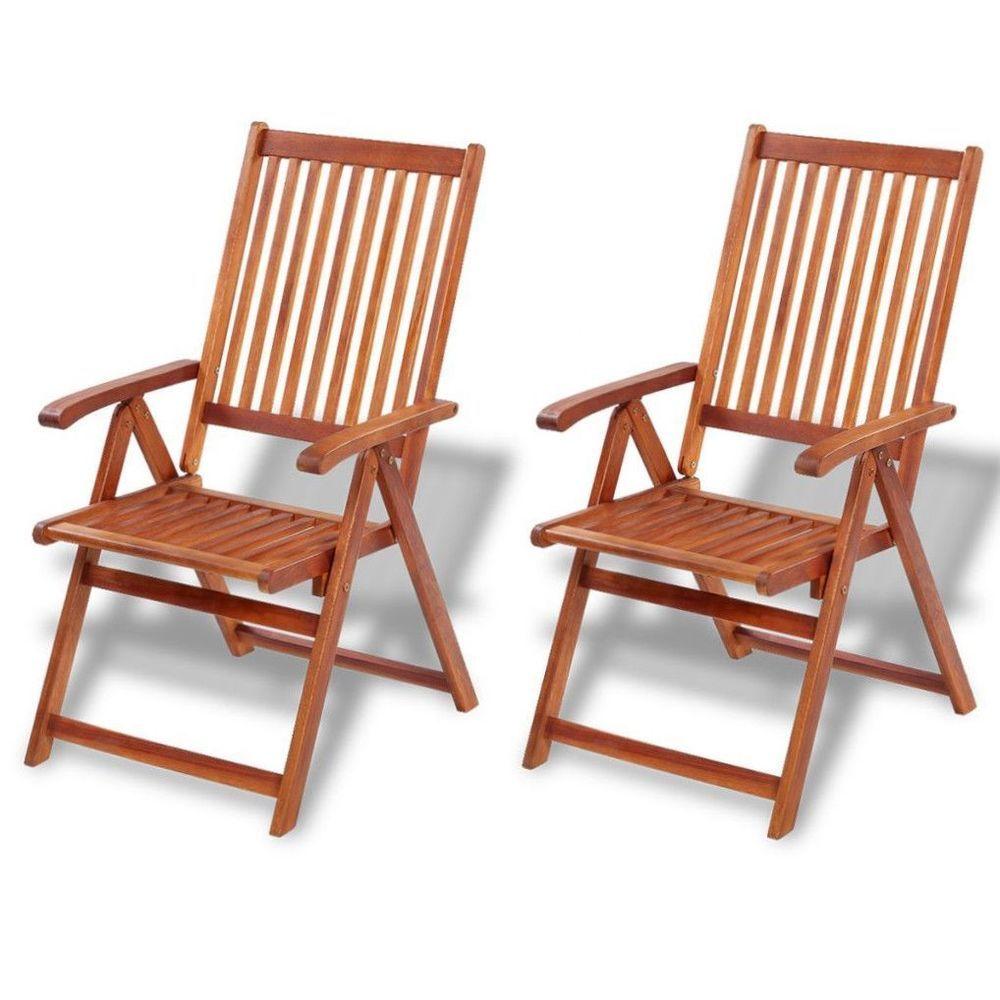 Outdoor Wooden Dining Folding Chairs 2 Pcs Garden Patio Furniture Set Hardwood