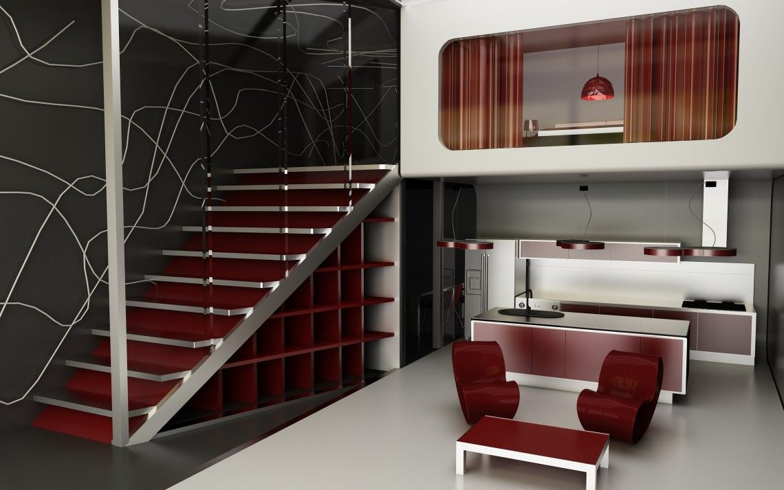 Best Paint For Stairs Interior Contemporary Interior Design With Maroon Lacquer Stairs