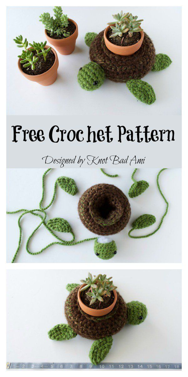 World Turtle Succulent Holder Free Crochet Pattern #crochetpatterns