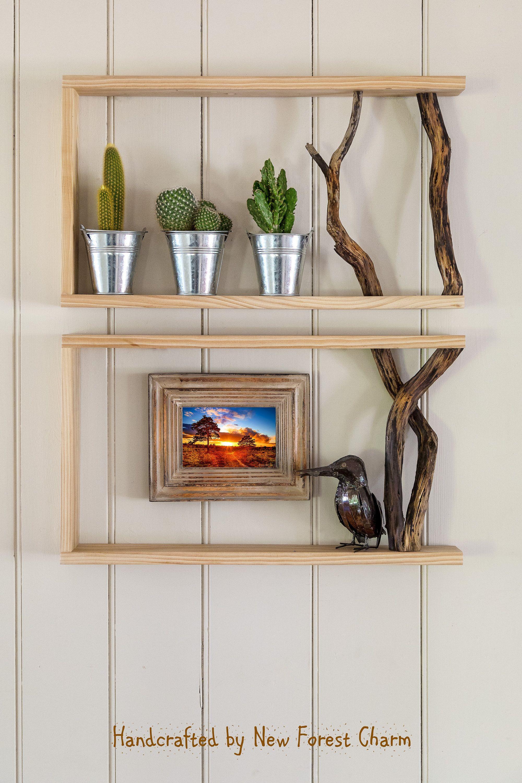 Set Of Two Box Shelves Wall Art Reclaimed Wood Shelf Tree Branch